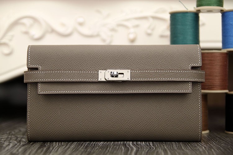 Knockoff Perfect Hermes Kelly Longue Wallet In Etoupe Epsom Leather