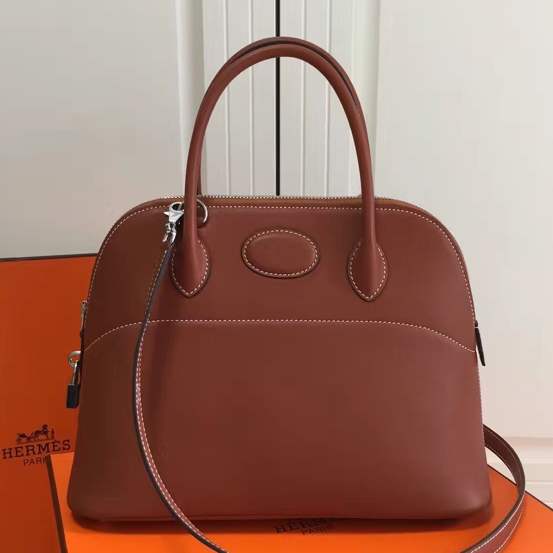 1:1 Replica Hermes Bolide 31cm Bag In Brown Swift Leather