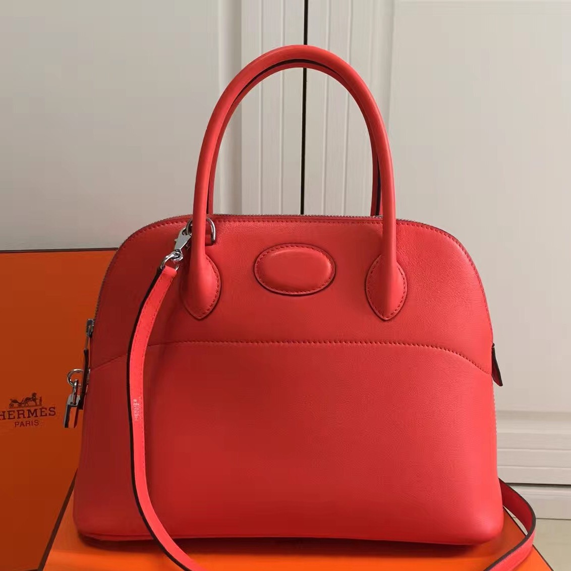 Replica Hermes Bolide 31cm Bag In Red Swift Leather