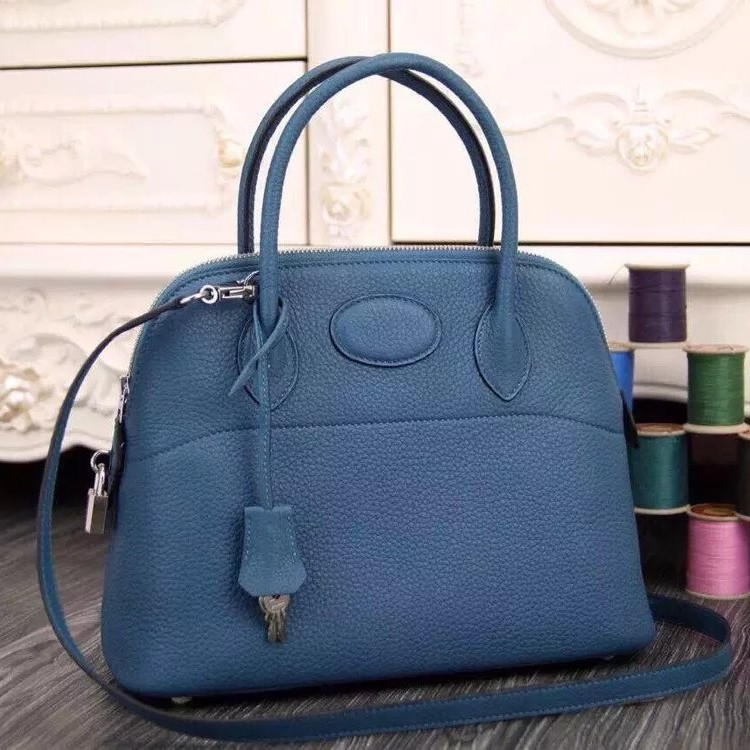 Faux Hermes Bolide Tote Bag In Blue Leather