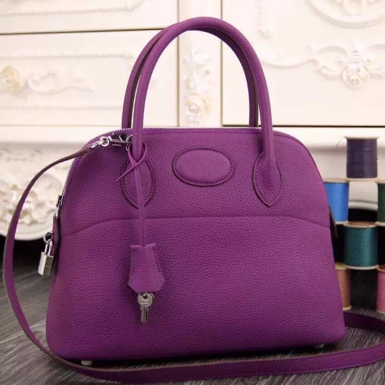 Imitation Hermes Bolide Tote Bag In Purple Leather