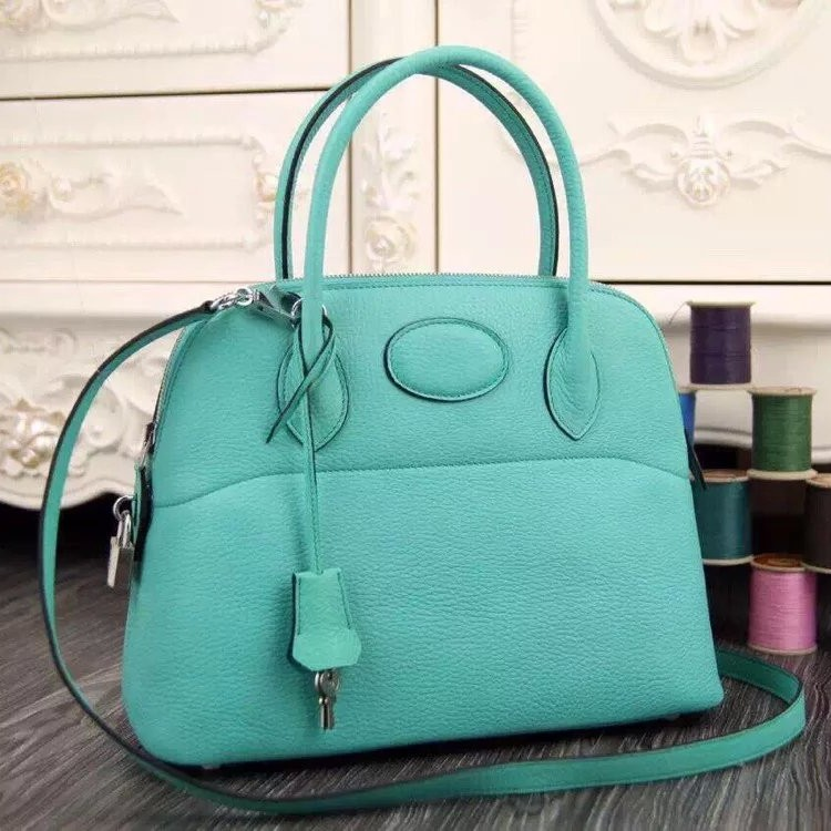 Replica AAA Hermes Bolide Tote Bag In Turquoise Leather