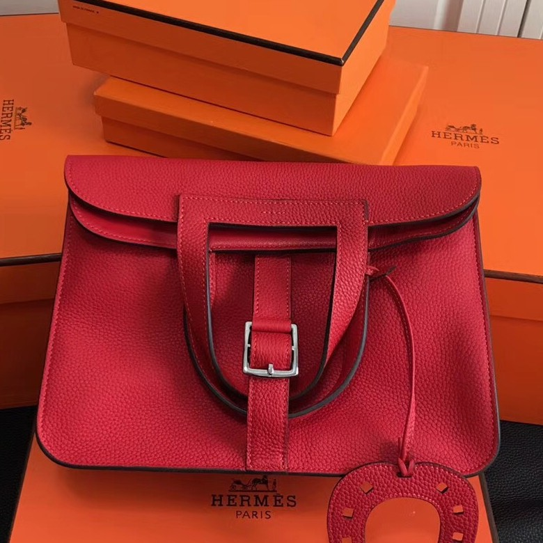 Wholesale Hermes Halzan Bag In Red Clemence Leather