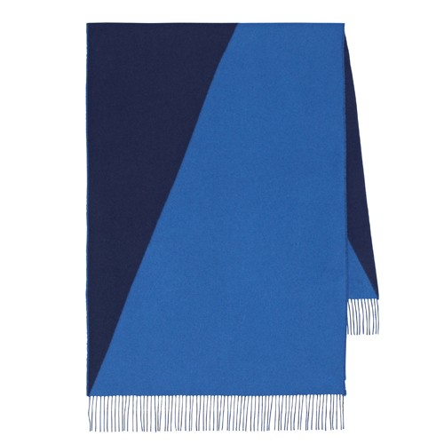 Hermes Casaque Stole In Navy And Blue Cashmere