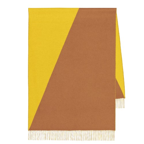Hermes Casaque Stole In Yellow And Camarel Cashmere Replica