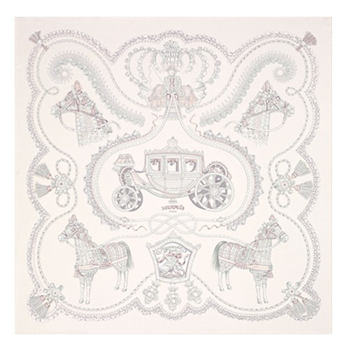 Hermes Creme Paperoles Silk Twill Scarf Replica