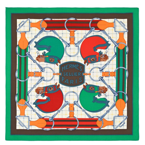 Hermes Green Tatersale Cashmere Shawl 140