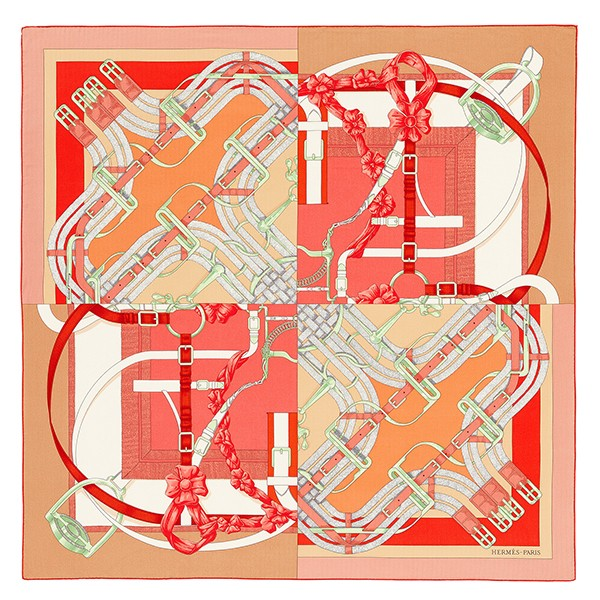 High Quality Hermes Pink Grand Manege A Jouets Shawl 140cm