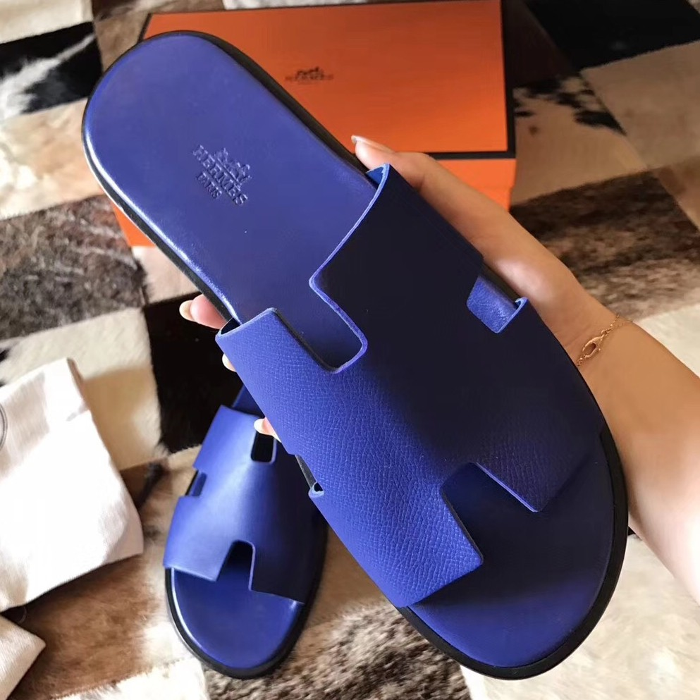 Hermes Izmir Sandals In Electric Blue Epsom Leather Replica