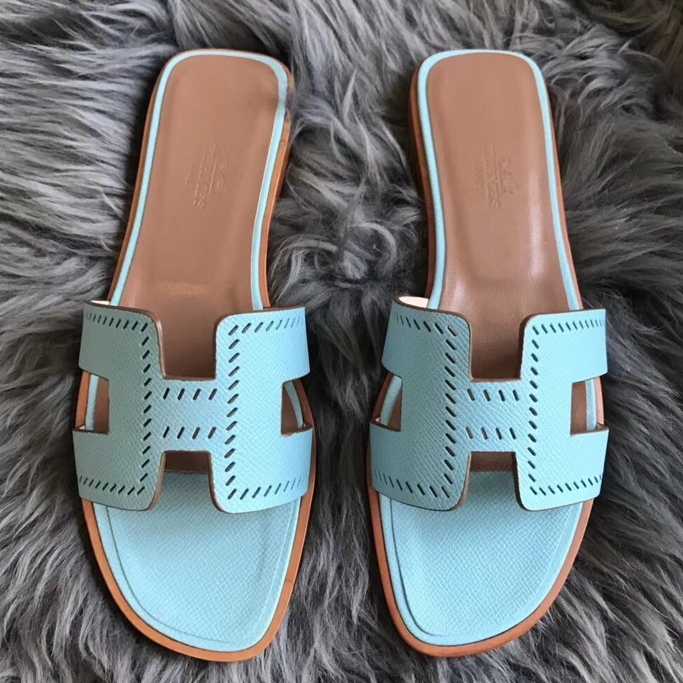 Cheap Hermes Oran Perforated Sandals In Blue Atoll Epsom Leather