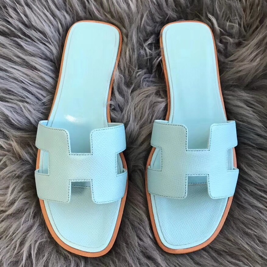 Hermes Oran Sandals In Blue Atoll Epsom Leather Replica