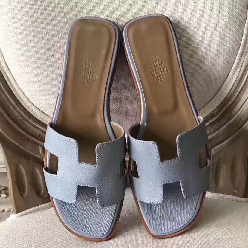 Discount Hermes Oran Sandals In Blue Lin Epsom Leather