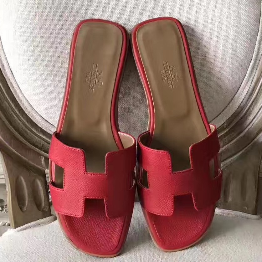 Cheap Hermes Oran Sandals In Red Epsom Leather