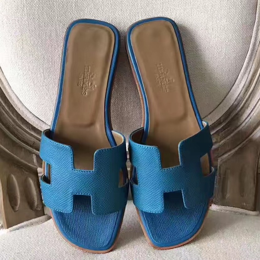 Hermes Oran Sandals In Turquoise Epsom Leather