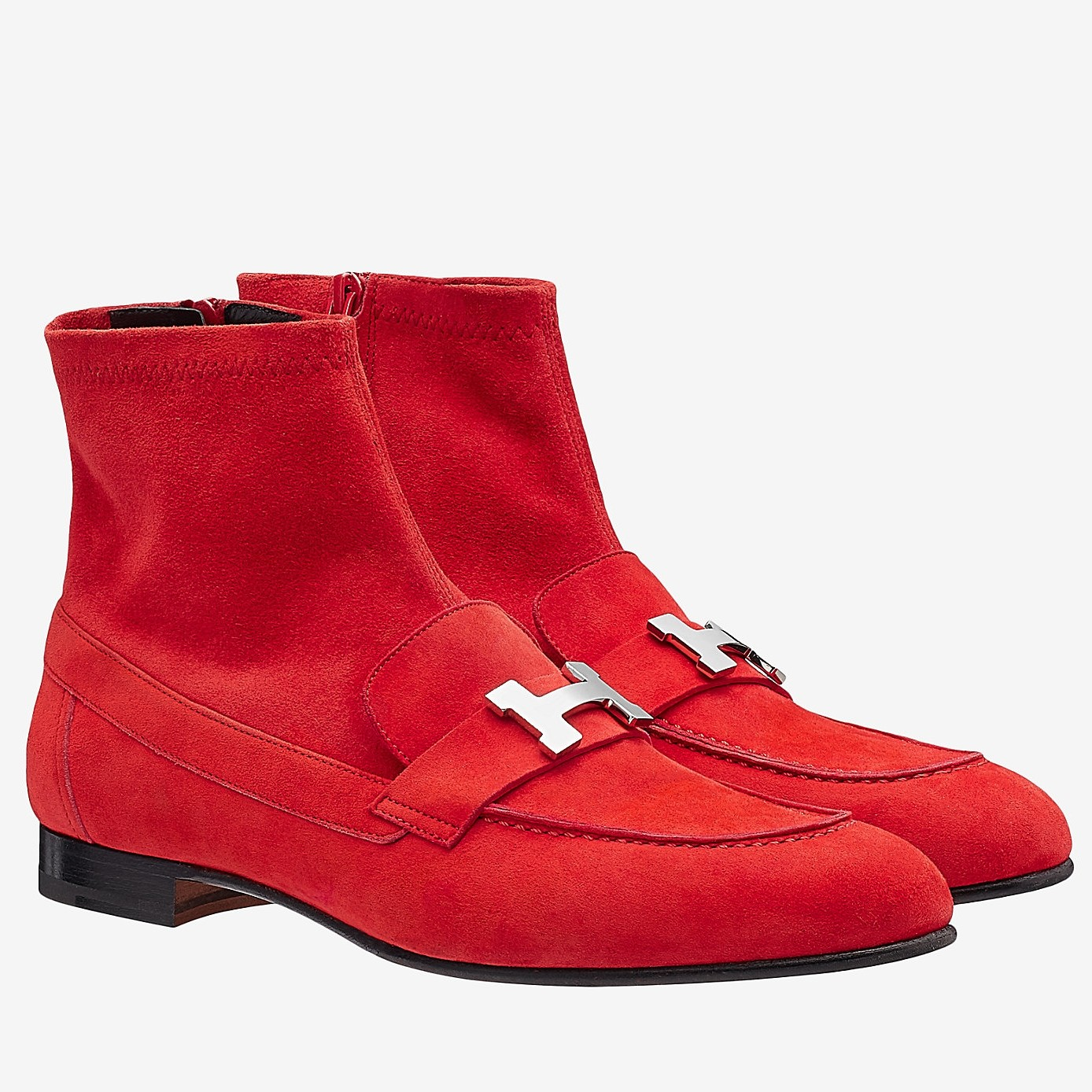 Hermes Red Saint Honore Ankle Boots