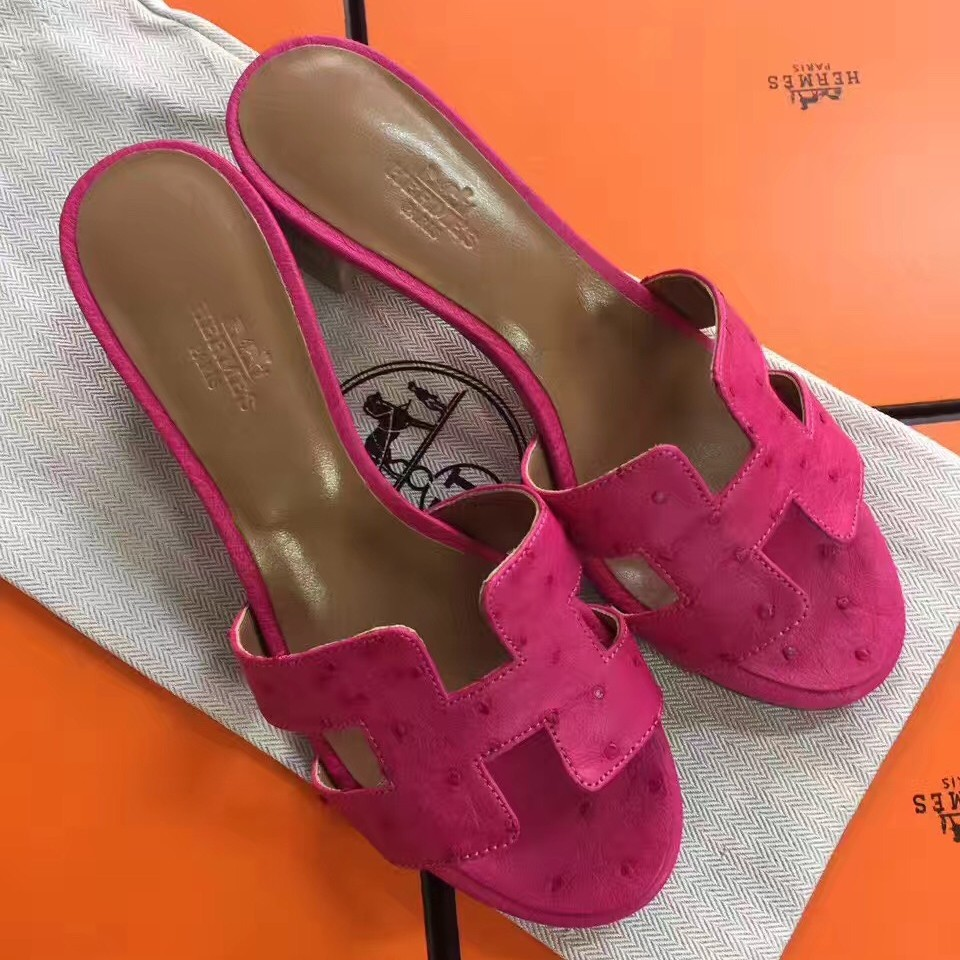 Knockoff AAA Hermes Rose Red Ostrich Oasis Sandals