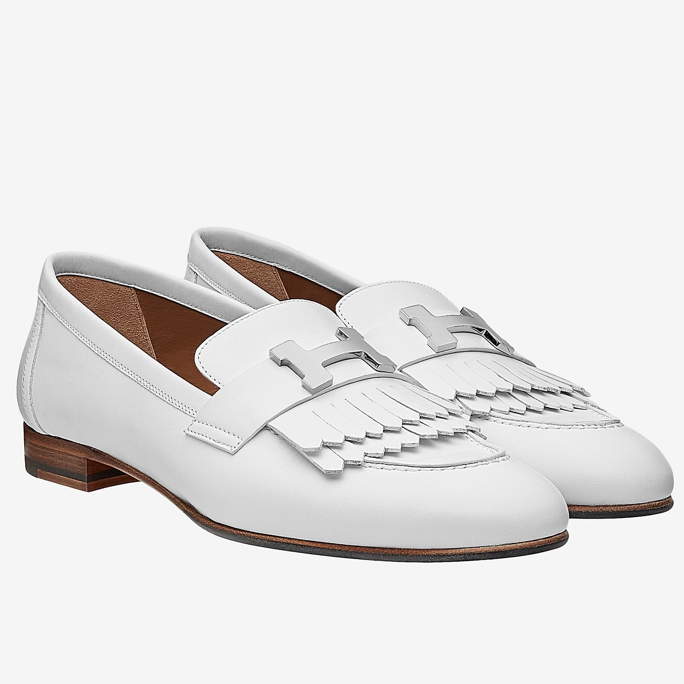 High End Hermes Royal Loafers In White Calfskin